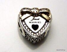 NWT AUTHENTIC PANDORA CHARM 2-TONE WEDDING HEART JUST MARRIED  #792083CZ