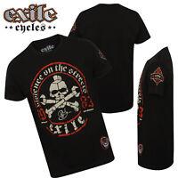Mens Exile Cycles Biker T Shirt Genuine Custom Motorcycle Chopper Bike Clothing