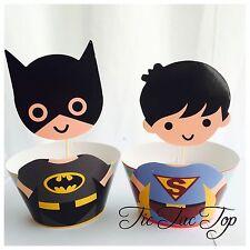 12x Batman V Superman Cupcake BIG Topper + Wrapper. Party Supplies Lolly Bag