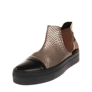 Leather & Calf Hair Chelsea Boots EU 40 UK 7 US 10 Metallic Effect Patterned