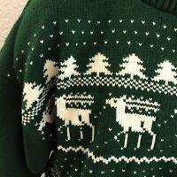 NEW Sweater Ski Chunky Large L Womens Pullover Maine Alaska Deer Moose Oversized