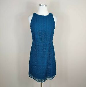 Ann Taylor Loft Sleeveless Crochet Lace Sheath Dress Teal Size 0