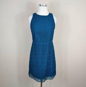 Ann Taylor Loft Sleeveless Crochet Lace Sheath Dress Teal Size 0