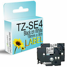 2 compatible fit brother TZ-SE4 Black on White Security Tape 18mmx8m P-Touch