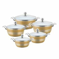 Sq Professional Set of 5 Beige Colour White Ceramic Coated Stock Pots, Glass lid
