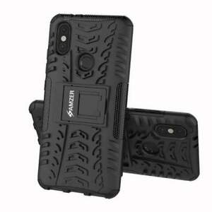AMZER Dual Layer Hybrid Warrior Case with Stand for Xiaomi Mi A2 - Black