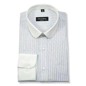 Blue stripes Mens Penny collar Peaky Blinder shirts Round Club Grandad Gents