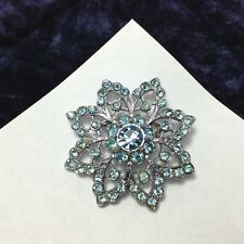 Vintage Starburst Flower Brooch Set with White & Aqua Blue Rhinestones
