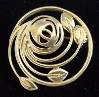 Silver vintage Art Deco antique vintage Art Deco antique round floral brooch