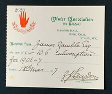 More details for 1907 ulster association in london receipt, hotel cecil, james gamble, red hand