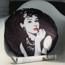 New Classic Black Audrey Hepburn Velvet Round Pillow Case Cushion Cover Sham