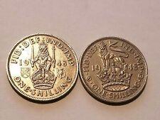 1948 England - 1 Shilling - George VI - English & Scottish Crest (2 Coins)