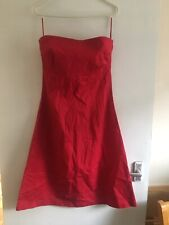 Red Betty Jackson Studio Strapless Dress Size 12 (1422)