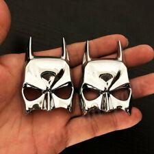2pcs Metal Chrome Batman Dark Knight Mask Face Car Emblem Badge Decal Sticker
