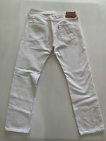 Levis Mens 501 Regular Fit White Denim Jeans Red Tab 34x32 Button Fly