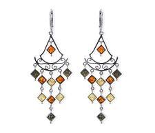 Bernstein 925 Sterling Silber Ohrringe im orientalischen Stil für Damen