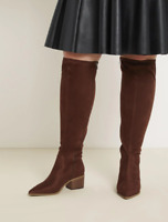 Eloquii Riko Tobacco Color Stacked Heel Boot In Wide Width Plus Size 11W