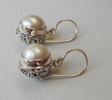 Stunning Mabe Pearl Dangle Earrings 925 Sterling Silver/ Balinese Flower Design