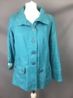 M&S Per Una Sz 12 Teal Turquoise Linen Jacket Floral Satin Lining Spring Summer