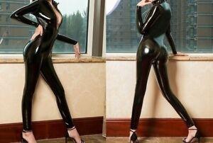 Dessou Erotik Damen Latex Leder Bodysuit PVC schwarz