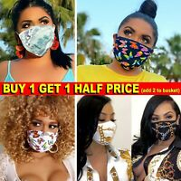 LADIES FACE MASK REUSABLE WASHABLE MOUTH COVER BUTTERFLY CHAIN DOLLAR LARGE NEW
