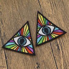 2pcs Embroidered Rainbow Evil Eye Illuminati Patch Iron On Shirt Jacket Patch