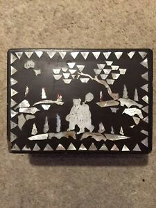 Vintage Mother Of Pearl Inlaid Papier Mache Box