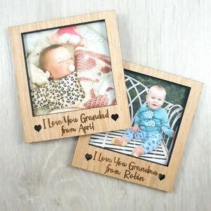 Personalised Grandma Grandad Polaroid Magnet Frame Gift Wood Oak Lockdown Baby