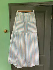 Asos Blue White Stripe Maxi Cotton Skirt
