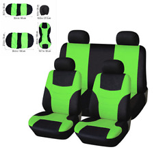Green 8Pcs Universal Car Seat Cover Front Rear Back Head Rest Full Set Protector