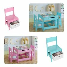 3 Pcs Kids Table and Chairs Set Storage Drawer Room Pre School Wooden Study Desk