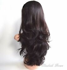 Layers Dark Brown Dark Plum Long Wavy Curly 3/4 Wig Hairpiece Half Wig 043
