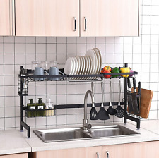 Over The Sink Dish Drying Rack Black, 2 Cutlery Holders Drainer Shelf for Steel