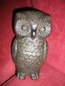 OWL STATUE, cast iron black
