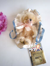 Merrythought pink mohair mini bear Cheeky in Dreamland in baby carrier bag.Mint.