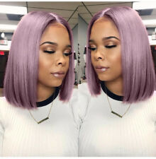 Purple Bob Short Straight Lace Front Synthetic Wig Cosplay Heat Resistant Wigs