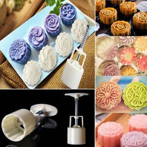 4 Style Stamps 50g Round Flower Moon Cake Mold Mould White Set Mooncake Decor AU