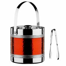 Ice Bucket and Tongs With Folding Handle & Lid Hammered Red Band Stainless Steel