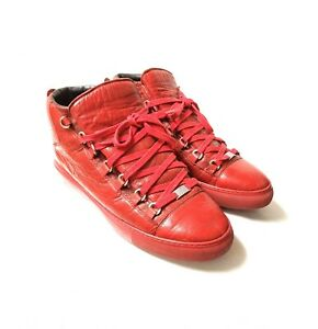 Balenciaga Arena Red Leather Size 11 43 Lambskin High Top Sneaker Italy