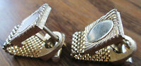 Vintage Unsigned Mens Cufflinks Gold Tone Thick Chain Loop Engraveable Surface