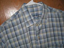 Tommy Bahama Shirt Hawiian Casual LARGE Silk  Blue Plaid Short Sleeve FREE SHIP