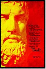 EPICURUS ART PHOTO PRINT POSTER GIFT PHILOSOPHY ATHEISM ATHEIST QUOTE