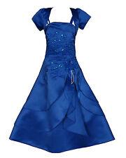 New Dark Blue Satin Flower Girl Bridesmaid Dress 13-14 years Matching Bolero