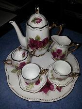 Mini 10pc Porcelain white with red roses Teapot set