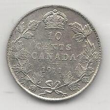 CANADA,  1911,  10 CENTS,  SILVER, KM#17, EXTRA FINE