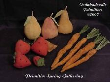Primitive Strawberries Pears Carrot Bowl Filler Spring Paper Pattern