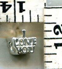 VINTAGE STERLING BRACELET CHARM~EUROPEAN SLIDE BRACELET TYPE~I LOVE YOU~$12.00!!