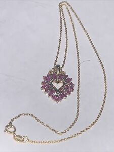 Diamond & 9 Spinal with Heart Pendant Gold over 925 18 inch Necklace