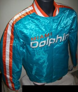 MIAMI DOLPHINS Starter Snap Down Jacket AQUA BLUE LARGE, XL