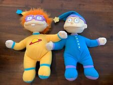 """Vintage Mattel Rugrats Tommy & Chuckie 12"""" Plush Dolls In Pajamas! Lot Of 2!"""